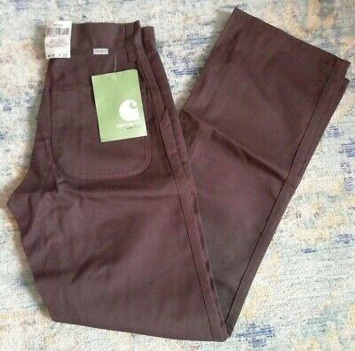 Carhartt Simple Pant Brown W26 X L32 B40DKB Poly Cotton Twill Trousers Deadstock • 40£
