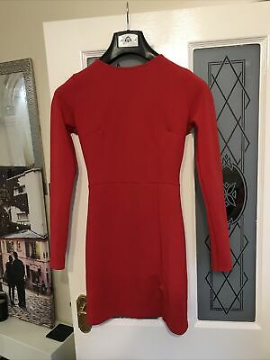 Ladies Missguided Red Dress Size 8 Lon Sleeve Dress Work Formal Wedding Party • 2.99£