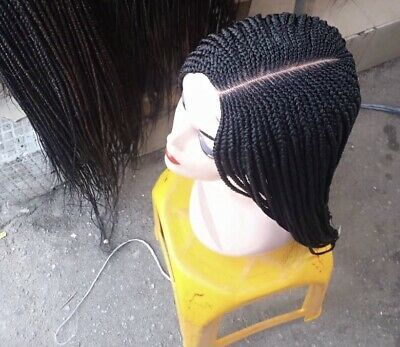 £45 • Buy Handmade Cornrows Frontal Lace Wig ,Tiny Twisted Wig,kinky Curly Wig