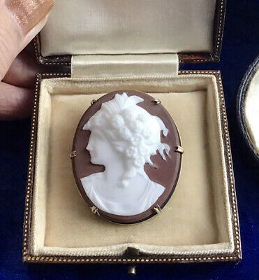 **** Stunning Large Antique Victorian Silver & Glass Cameo Set Brooch **** • 21£
