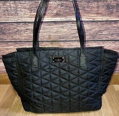 $ CDN52.36 • Buy Kate Spade Black Quilted Tote Style Purse Shoulder Bag Nylon