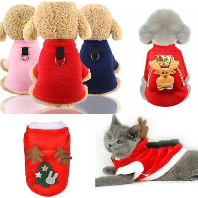 Christmas Pet Dog Cat Clothes Warm Deer Hoodie Kitten Xmas Costume Jumper Outfit • 4.56£