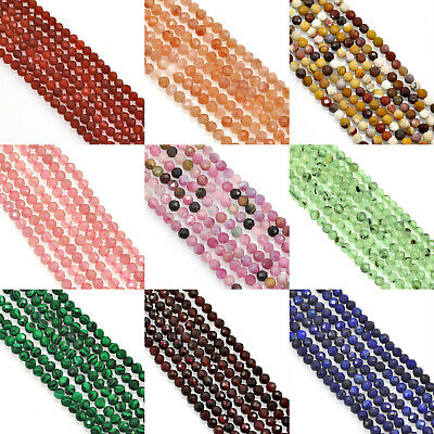 £8.99 • Buy Size 4mm Faceted Round Semi-precious Gemstone Spacer Beads For Jewellery Making