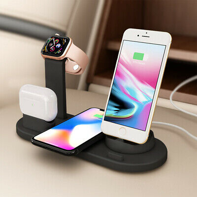 4in1 Qi Fast Wireless Charger Dock Stand For IWatch Air Pods IPhone 12 Pro 11 XS • 12.99£