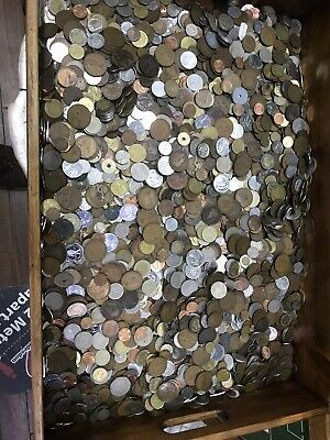 BULK COLLECTION 1.5kg  1500g Uk & MIXED FOREIGN  WORLD COINS, JOB LOT Barn Find  • 16£