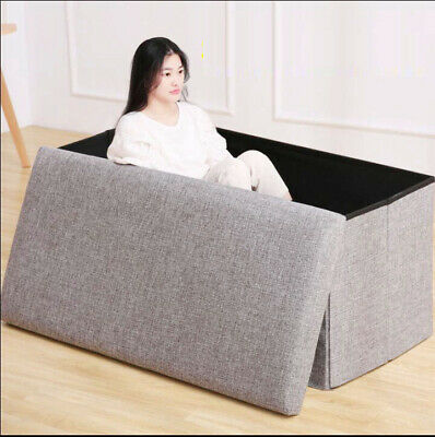 Grey Linen Folding Storage Ottoman Pouffe Seat Foot Stool Foldable Storage Stool • 18.99£
