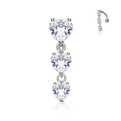 REVERSE DROP TOP DOWN BELLY BAR WITH 3 CLEAR CRYSTAL Cz HEART • 4.80£