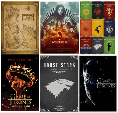 £4.50 • Buy GAME OF THRONES Westeros Map House Stark Sword Flag Daenerys Print/poster A4/A3