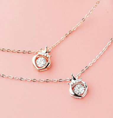 £4.29 • Buy Crystal Heart Crown Pendant Chain 925 Women's Jewellery Necklace Gift For Her
