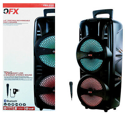 $ CDN81.95 • Buy QFX 2' X 8  Portable Rechargeable Party Speaker With Microphone Open Box Item