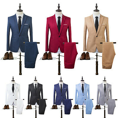 $ CDN28.41 • Buy Mens Blazer Suit Slim Tuxedo Soft Coat Pants Formal Evening Dinner Wedding Groom