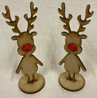 £2.99 • Buy CH1 2x Free Standing Reindeers Inc Red Pom-pom Noses. Christmas Wooden Xmas Gift