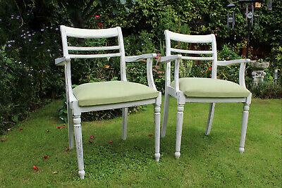 Antique 19th Century French Mahogany Carver  Dining Chairs Painted / Upholstered • 145£