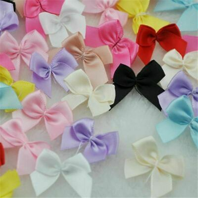 Mini Satin Ribbon 100Pcs Flowers Bows Gift Crafts For Wedding Events Decorations • 5.79£