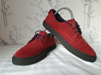 Fred Perry Red Suede Lace Up Shoes Size UK 5 • 13.99£