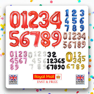 Giant Foil Number Balloons Letter Air Helium Birthday Age Party Wedding 32   • 1.95£