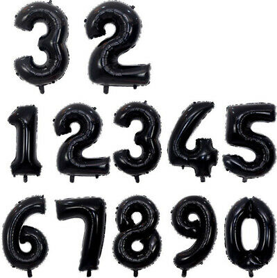 Black Giant Foil Number Balloons Air Helium Birthday Age Party Wedding 32   • 1.95£
