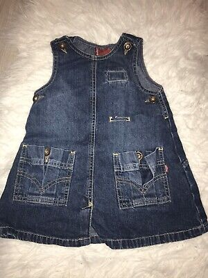 Baby Girl Levis Dress Age 18 Months Dungaree Style Denim Trend Toddler Blue Jean • 3£
