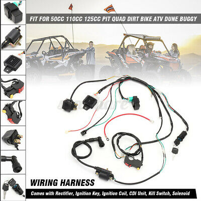 $21.51 • Buy Wiring Harness Loom Solenoid Coil CDI Rectifier 50cc-125cc PIT Quad Dirt Bike