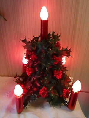 $ CDN32.73 • Buy VINTAGE Plastic Holly + Berry Christmas Tree W/5 Red C7 Light Bulb Candle Stick