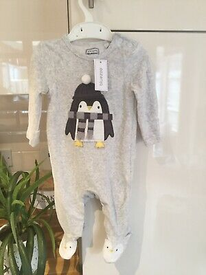 Blue Zoo New With Tags Grey Baby Boys Velour Babygrow Christmas Age 0-3 Months • 5.95£