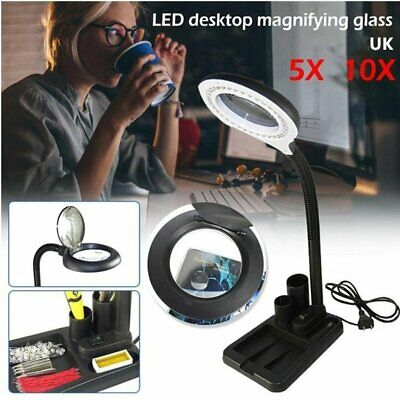 40 LED Desk Lamp Magnifying Magnifier Glass With Light Stand Clamp Repair Read • 15.79£