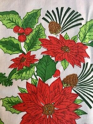 $ CDN17.99 • Buy VINTAGE CHRISTMAS Tablecloth Cotton 51 X 63 Bright Bold Color Flowers Pine Cone