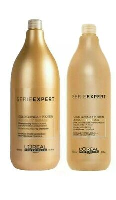 L'OREAL Absolut Repair Gold Quinoa + Protein Shampoo 1500ml, Conditioner & Pump • 42.99£
