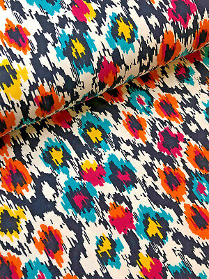 IKAT PRINT Cotton Jersey Fabric - 59  / 150cm Wide NAVY ON WHITE • 11.55£