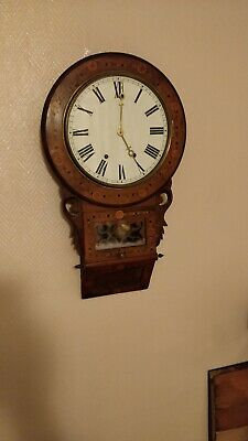 Anglo American Antique Drop Dial Inlaid Wall Clock 8 Day Movement Strike On Bell • 295£