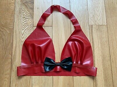 Red Latex Halter Neck Bra Top With Black Bow. Size 8-10 • 20£