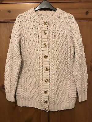Vintage Wool Cream Cable Aran Hand Knit Chunky Cardigan 8 10 12 14 Slouchy Warm • 15£
