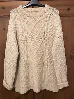 Vintage Wool Cream Cable Aran Hand Knit Chunky Jumper 8 10 12 14 Slouchy Warm • 6.83£