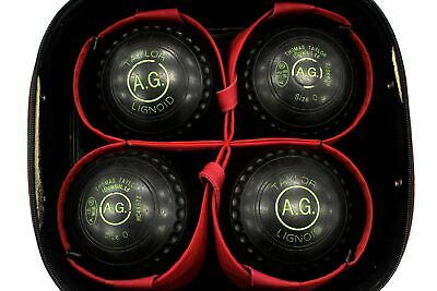 THOMAS TAYLOR LIGNOID BOWLS SET Of 4 Black Size 0 HC49572 Initialled A.G.  - A25 • 9.50£