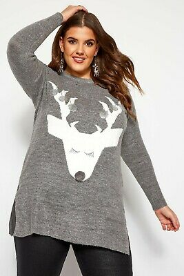 £19.99 • Buy Yours Clothing Grey Reindeer 3d Jumper With Silver Sequins Plus Size 20