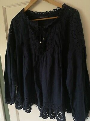 Navy Blue Embroidery Anglaise Peasant Boho Blouse Top Size 14 M&S  • 2.99£