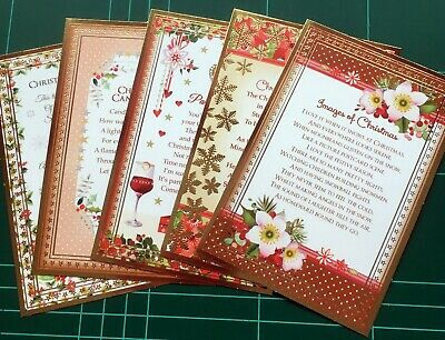 Hunkydory Christmas Card Toppers With Festive Verse X 5 • 1.99£
