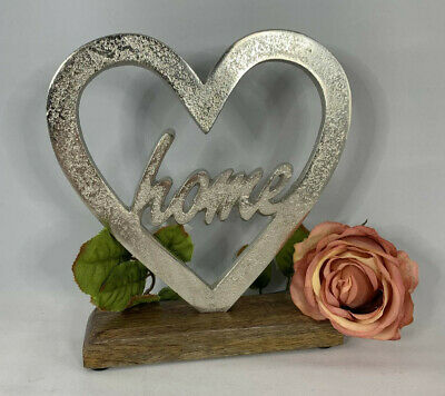 Silver Heart With Home Detail Ornament On A Wooden Base Shabby Chic Home Decor • 11.95£