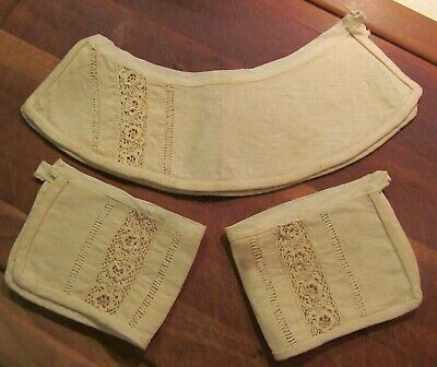 Antique Linen And Lace Collar And Cuffs • 4.29£