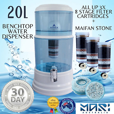 AU119 • Buy Benchtop Water Filter Dispenser 8 Stage Water Filter Purifier 20L With 3 Filters