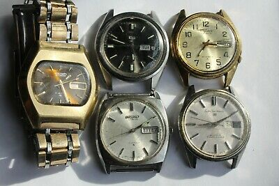$ CDN14.98 • Buy Lot (5) VINTAGE Seiko Automatic Mens Watches 6309 Dolphin Sportsmatic = NEED TLC