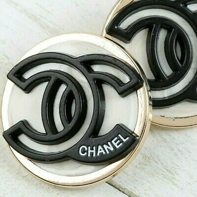 Chanel Buttons CC Ivory Black 🖤 Silver White 23mm Unstamped 2 Button AUTH!!! • 20.98£