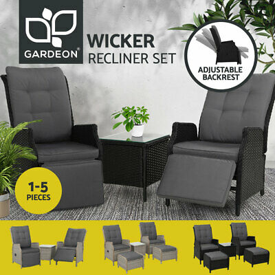 AU299.90 • Buy Gardeon Recliner Chairs Sun Lounge Outdoor Furniture Wicker Sofa Patio Garden