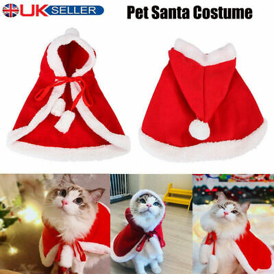 Pet Cat Santa Costume Dog Christmas Small Coat Outfit Clothes Hoodie Jumper Xmas • 4.09£