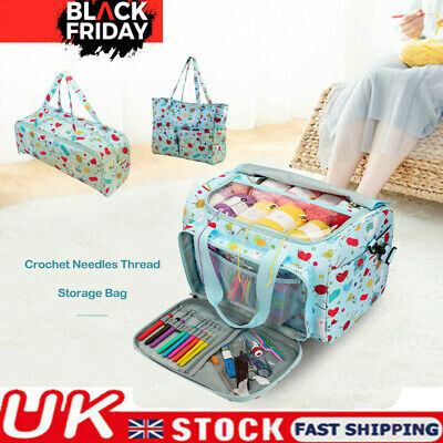 Knitting Yarn Storage Bag Case Crochet Hooks Thread Sewing Kits Organizer Bag UK • 6.98£
