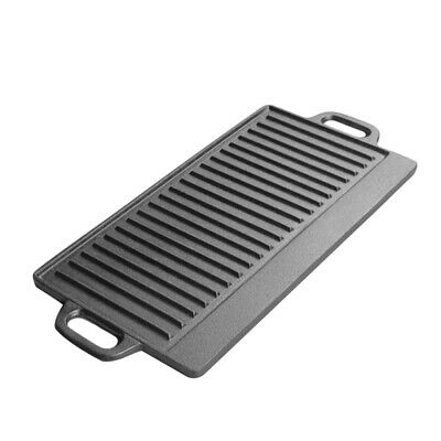Cast Iron Flat Frying Pan Baking Tray Non Stick Griddle Plate BBQ Grill Pan Tray • 17.99£