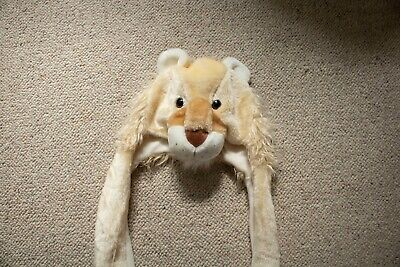 Lion Faux Fur Hat With Attached Mittens, One Size • 1.30£