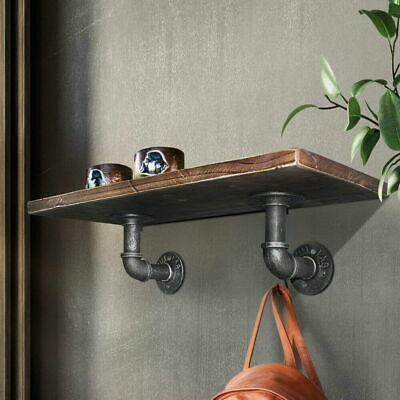 £10.39 • Buy 2PC Pipe Shelf Brackets Industrial Iron Rustic Wall Floating Shelves Supports UK