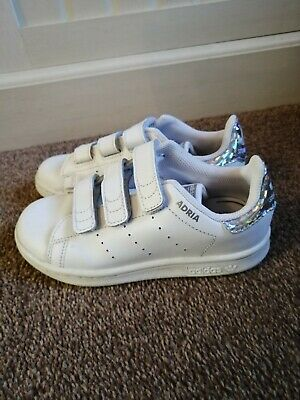 Used, Childs White Addidas Adria Endorsed By Stan Smith Uk Size 11.5 Euro 30 Vgc • 0.99£