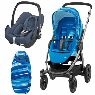 Maxi Cosi Stella Pushchair, Rock Car Seat And Footmuff Watercolour Blue RRP:£578 • 189£